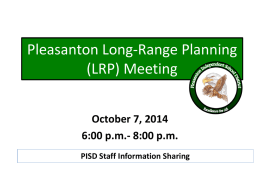 Pleasanton Long-Range Planning (LRP) Meeting