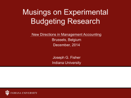 Experimental Budgeting Research