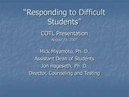 Responding to Difficult Students