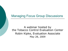 Managing Focus Group Discussions