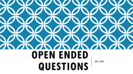 Open Ended Questions - Wayne Community College