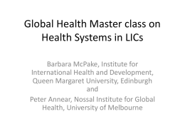 Global Health Master class on Health Systems analysis