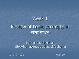 Week 1 Review of basic concepts in Statistics