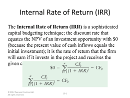 Internal Rate of Return (IRR) - (MBA)
