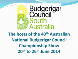 40th Australian National Championship Show 20th to 22nd