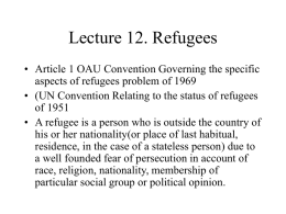 Lecture 12. Refugees - Midlands State University