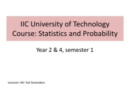 IIC University of Technology Course: Statistics and