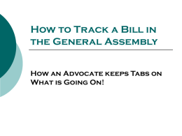 How to Track a Bill in the General Assembly