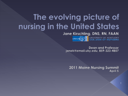 The evolving picture of nursing in the United States