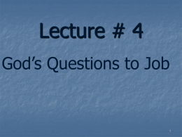 God's Questions to Job - Power Points to Jesus