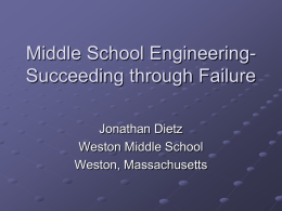Middle School Engineering- The Importance of Failure