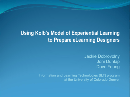 Using Kolb's Model of Experiential Learning to Prepare