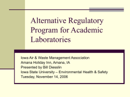 EPA's New Regulations for Academic Laboratories