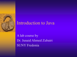 Introduction to Java - Welcome | SUNY Fredonia