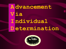 Advancement Via Individual Determination (AVID) Overview