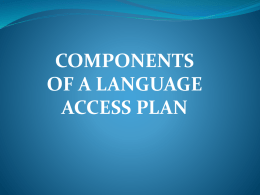 Components of a Language Access Plan