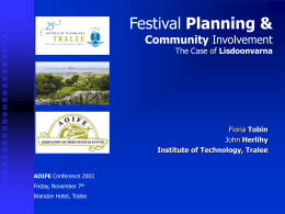 Festival Planning & Community Involvement The Case of