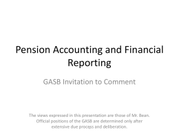 Pension Accounting and Financial Reporting