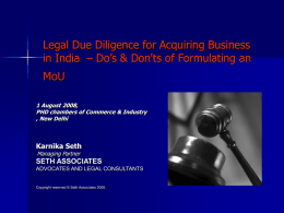 Legal Due Diligence for Acquiring Business in India – Do's