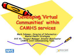 Developing 'Virtual Communities' within CAMHS services