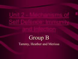 Unit 2 - Mechanisms of Self Defence: Immunity and Infection