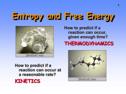 Entropy and Free Energy - Mesa Community College