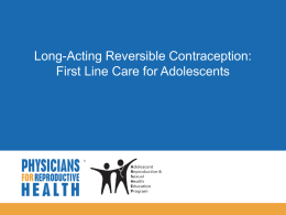 Contraceptive Counseling: Talking about Birth Control and Risk