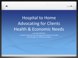 Hospital to Home Advocating for Clients Economic Needs