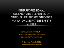 Interprofessional, Collaborative Learning via Online