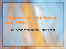 Chapter 12: The World War I Era