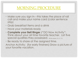 Morning Procedure - Campbell County Schools