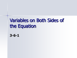 Variables on Both Sides of the Equation