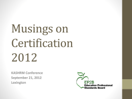 Musings on Certification-