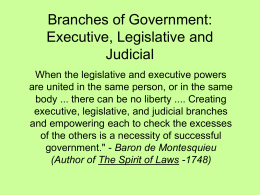 Branches of Government: Executive, Legislative and Judicial