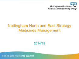 Nottingham North and East Strategy Medicines Management