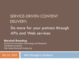Web Services - Library Technology Guides