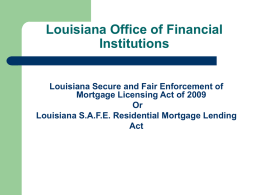 Residential Mortgage Lending Act