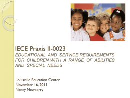 IECE Praxis II-0023 EDUCATIONAL AND SERVICE …
