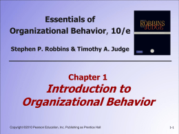 1: Introduction to Organizational Behavior