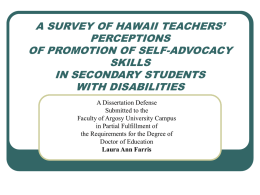 A SURVEY OF HAWAII TEACHERS' PERCEPTIONS OF PROMOTION …