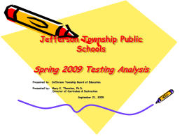 Jefferson Township Public Schools Spring 2008 Testing Analysis