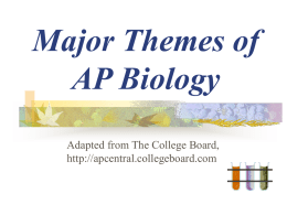 Major Themes of AP Biology - Mr. Snider's Biology Home Page