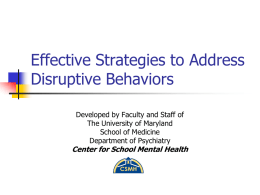 Effective Strategies to Address Disruptive Behaviors