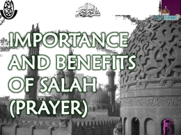 IMPORTANCCE AND BENEFITS OF SALAH