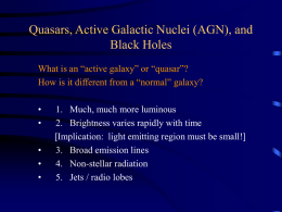 Quasars, Active Galactic Nuclei (AGN), and Black Holes