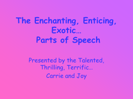 The Enchanting, Enticing, Exotic… Parts of Speech