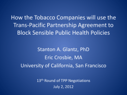 Tobacco Control Policymaking in Costa Rica: The importance
