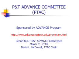ADVANCE Committee for Promotion and Tenure Assessment and