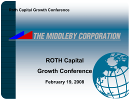 Roth - Middleby Corporation