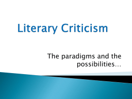 Literary Criticism - Chandler Unified School District